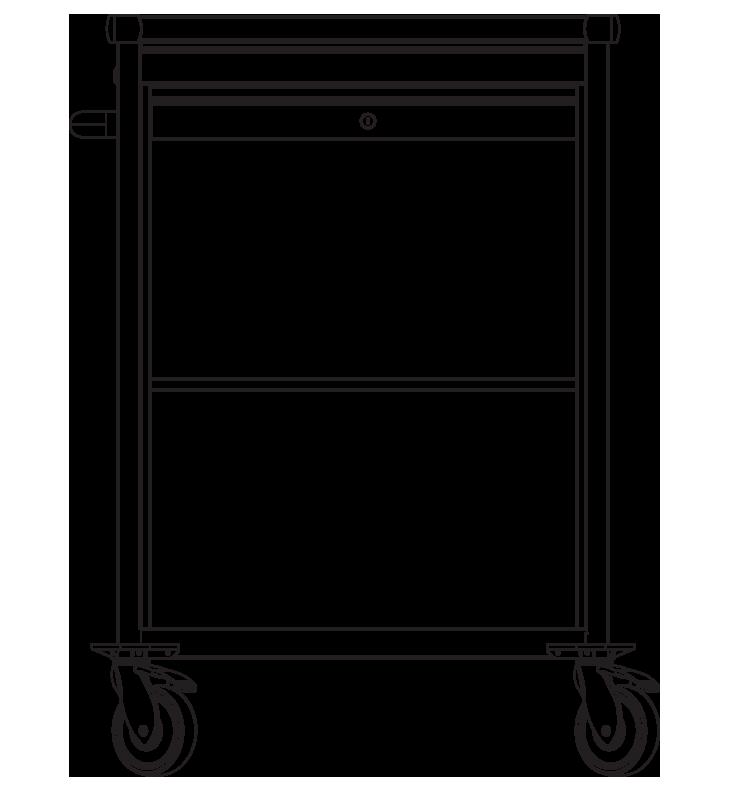PRedná strana: Pojazdná skrinka s roletou ZV1390N