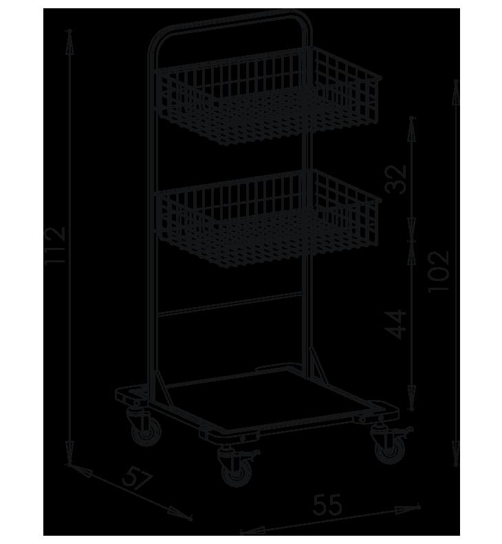 PRedná strana: Pojazdný stojan košový NEREZ5001