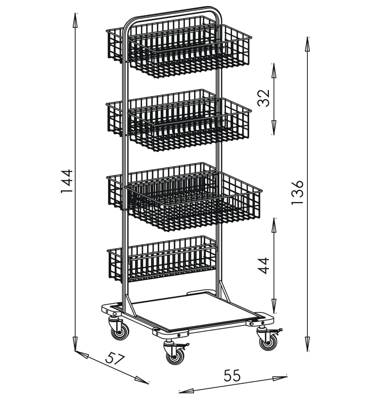 PRedná strana: Pojazdný stojan košový NEREZ5006