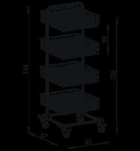 Pojazdný stojan košový NEREZ5009