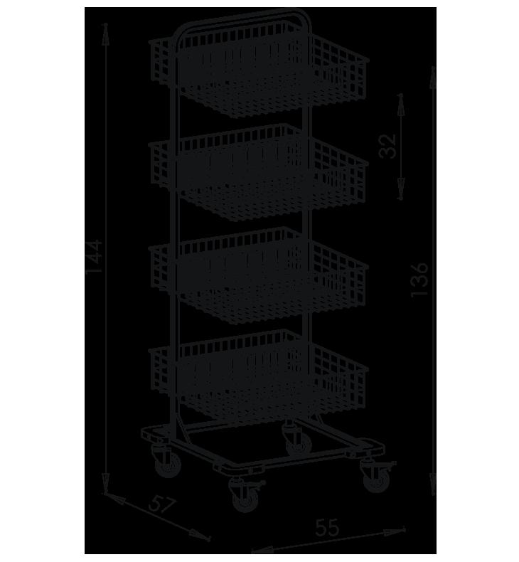 PRedná strana: Pojazdný stojan košový NEREZ5009