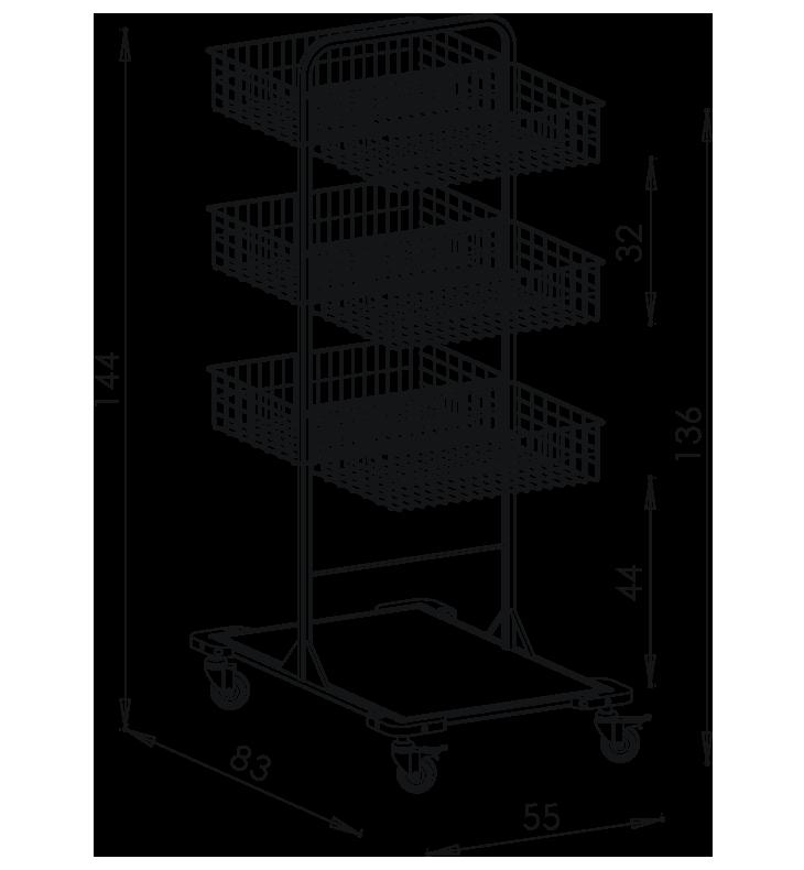 PRedná strana: Pojazdný stojan košový NEREZ5012