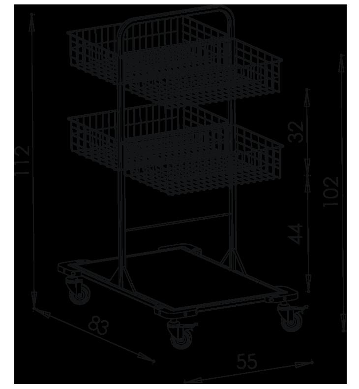 PRedná strana: Pojazdný stojan košový NEREZ5014