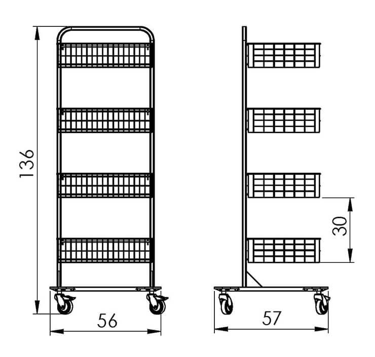 PRedná strana: Pojazdný stojan košový NEREZ5010